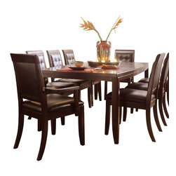 American Drew - American Drew Tribecca 10-Piece Leg Table Set in Root Beer Color - The Tribecca mixes it up with modern, Art Deco, and Asian influences. Lighter scaled, with classic clean lines and pared down forms, Tribecca's inviting textures, rich wood tones and nickel finish hardware could be just the fresh look you've been trying to imagine for the new retirement condo on the shore or a trendy city loft.