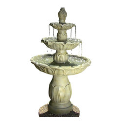 Sunnydaze Decor - Classic Tulip 3 Tier Fountain - Give your garden a time-honored feel when you place this elegantly carved polystone three tier fountain amongst the botanical beauty. You'll find yourself wanting to watch the water cascade down the floral shaped basins for a long while, feeling peace come over you like the drops of gentle water.