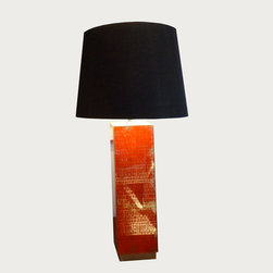 Waylande Gregory Coral Crackle Tall Lamp - This lamp does more than just provide ample light in your space - it's a strong design element that will enhance the decor in almost any room. Featuring a rich coral crackle motif and complementary black shade, this substantial piece will draw the eye and add character and style to your home.