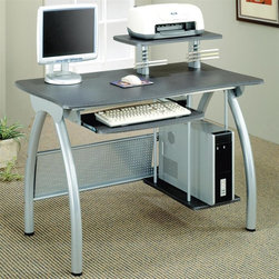 Coaster - Contemporary Computer Desk w Keyboard Tray - Elevated printer shelf clears up more space. Attached CD storage racks. Pull out return for additional work surface. Lower CPU tower shelf. Arching brushed nickel legs. Sleek metal construction. 47.25 in. W x 23.63 in. D x 37.38 in. H. WarrantyThis simple and stylish computer unit offers a compact computer workstation for your home. This piece is great for smaller homes or rooms, helping you make the most of your space.