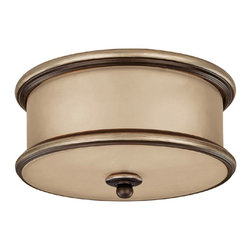 Capital Lighting - Capital Lighting Park Place Transitional Flush Mount Ceiling Light X-ZC3202 - The glossy and well-rounded Capital Lighting Park Place Transitional flush mount ceiling light displays sophistication and glamour. The champagne glass drum shade warms and evens out the light. The champagne bronze finished frame complements and highlights the glass shade. This ceiling light is a stylish choice for your home.