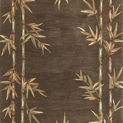 """Kas - Tropical Bamboo Double Border Mocha Sparta Floral 8'6"""" x 11'6"""" Kas Rug  by RugLo - Our Sparta Collection is an exclusively designed line of hand-tufted carpets with an antique finish. These rugs are made in China using high density Chinese wool. Classic and new designs in floral and other styles have been constructed using current color trends. These rugs are finished with an antique vegetable-dyed look and abrash effect. The combination of fresh color and design and antique finish gives this collection unique trend-setting characteristics."""