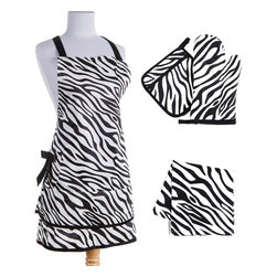 Sin in Linen - Zebra Kitchen Linen Set - Go wild in the kitchen with these black and white zebra print kitchen linens! Includes 1 apron, oven mitt, potholder and dish towel.