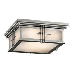 Kichler - Kichler Portman Square 2-Light Stainless Steel Outdoor Flush Mount - 49164SS - This 2-Light Outdoor Flush Mount is part of the Portman Square Collection and has a Stainless Steel Finish.