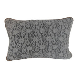 "www.pillowtalkdirect.com - 13"" X 20"" Soft Intricate French Lace Pillow - 13"" X 20"" Soft intricate French lace shown to it best on a black lining. Multi-colored cord trim and gray velveteen backing. Feather filled."