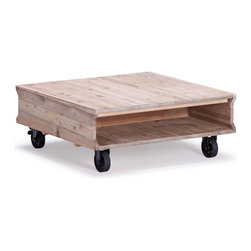 ZUO ERA - Westlake Coffee Table Natural Oak - With a nod to the furniture moving carts of the early 1900s comes the Westlake coffee table made of solid fir with a natural oak finish. It features metal wheels and a handy cubby for holding coffee table books. This is rustic at its very best.