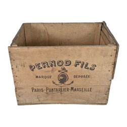 Used 1900's French Pernod Fils Absinthe Wood Crate - The beauty of this early 1900's wood crate from the Pernod Fils absinthe company in Pontarlier, France is that it could be used to stash any number of things in style! Your magazines/flip-flops/beanie baby collection were never held in such a nice vessel!      During the Belle Époque, the name Pernod Fils name became synonymous with absinthe and the brand represented the de facto standard of quality by which all others were judged. Two original shipping labels on one end.