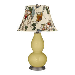 "Color Plus - Contemporary Butter Up Gray Botanical Shade Double Gourd Table Lamp - Exclusive Butter Up yellow designer color. Gray botanical print bell shade. Hand-crafted lamp. From the Color + Plus lighting collection. Maximum 150 watt or equivalent bulb (not included). 29 1/2"" high. Shade is 10"" across the top 17"" across the bottom 11"" on the slant.   Exclusive Butter Up yellow designer color.  Gray botanical print bell shade.  Hand-crafted lamp.  From the Color + Plus lighting collection.  Maximum 150 watt or equivalent bulb (not included).  29 1/2"" high.  Shade is 10"" across the top 17"" across the bottom 11"" on the slant."