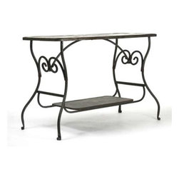 Zentique - Iron Table by Zentique - Slender curved iron framing gives the raw materials of the Iron Table by Zentique a look pretty enough for any room. Behind a sofa or against a wall, two levels provide plenty of space for creating an artistic display with some of your favorite treasures. Shabby Chic, Vintage or Rustic decor will easily welcome this style. (ZEN)