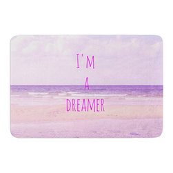 "KESS InHouse - Iris Lehnhardt ""I'm a Dreamer"" Beach Pink Memory Foam Bath Mat (17"" x 24"") - These super absorbent bath mats will add comfort and style to your bathroom. These memory foam mats will feel like you are in a spa every time you step out of the shower. Available in two sizes, 17"" x 24"" and 24"" x 36"", with a .5"" thickness and non skid backing, these will fit every style of bathroom. Add comfort like never before in front of your vanity, sink, bathtub, shower or even laundry room. Machine wash cold, gentle cycle, tumble dry low or lay flat to dry. Printed on single side."
