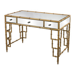Sterling Industries - Mirror Top Desk with Bamboo Frame in Gold Leaf - Timeless bamboo is given a modern spin on this high quality mirrored desk. The reeding is formed from metal and finished in Gold leaf making it stylish, modern and with depth and character all at once. 3 drawers make it functional as a work space or dressing table, while being decorative. A matching stool is available.