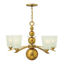 Hinkley Lighting - Hinkley Lighting 3445VS Zelda Modern / Contemporary Chandelier - Zeldas striking mid-century silhouette features four spheres that increase in size as they descend from the top loop  creating an elegant seamless center column. The sleek rectangular bowed arms support tapered etched glass shades perched on a hemisphere