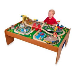 Kidkraft - KidKraft Ride Around Town Train Set with Table - Little ones can set up a whole city on this sturdy wooden table. With 100 colorful pieces, little ones will have endless hours of pretend play fun.