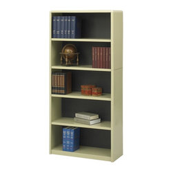 Safco - Value Mate Steel Bookcase w 5 Shelves in Sand - Adjustable shelves sized for records, documents and research materials highlight this stylish bookcase, a versatile addition to any office decor. Constructed of steel in sand colored powder coat finish, the bookcase has five shelves and a fiberboard backing for added stability and style. Accommodate 3-ring binders and large publications. Generous 12 in. deep shelves. 24 ga. material thickness. Adjustable shelf with 1 in. increment. Shelf capacity 70 lbs.. Back is made of solid fiberboard. Made from steel. Powder coat finish. 31.75 in. W x 13.5 in. D x 67 in. H (44 lbs.). Assembly InstructionEconomical, sturdy and strong with the ValueMate Bookcases you can't go wrong! Exquisitely showcase photographs, keepsakes, literature and resources - and these shelves are perfect for larger publications and 3-ring binders! Make it functional or fun for your executive office, conference room, meeting areas, reception areas, waiting room, library, media center, sales offices and even your home office. These beautifully designed bookcases add the little extra that your workspace needs.