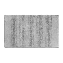 None - Westport Stripe Stormy Seas Washable 24 x 40 Bath Rug - Classic and comfortable,the Westport Stripe bath collection adds instant luxury to the bathroom,shower room or spa. Machine-washable,the grey plush nylon holds up to wear,while the non-skid latex makes sure the rug stays in place.