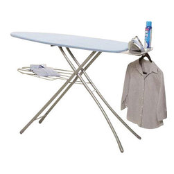 "Home Products - Wide Top Ironing Board - HOMZ Professional Ironing System with large 18-"" wide steel mesh ironing surface 24-percent larger over standard boards. Professional 4-Leg for stylish stability and durability. Built in premium iron rest with silicone pads and integrated garment hanger. The patented leg lock insures easy transport while fully variable height adjustments to 39-"" for any comfort. Made in USA. Khaki"