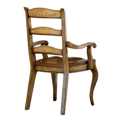 """Hooker Furniture - Hooker Furniture Set of 2 Vineyard Ladderback Arm Chair 478-75-300 - Magnificent country french dining room collection uses the """"vineyard"""" color palette for a subtle european two-tone effect. quality hardwood solids are hand painted to put this side chair in a category all its own. So invite over your friends and show off this beautiful ladderback arm chair with a dinner party. Includes set of 2 vineyard ladderback arm chair 478-75-300 only."""