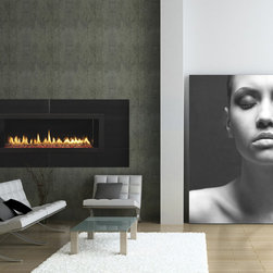 Heat & Glo - Modern / Contemporary Series - RED40 shown with LED lights, scarlet media, absolute black granite refractory and surround, and standard safety mesh.