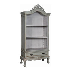 """Guildmaster - Legacy Library Cabinet by Guildmaster - Generous proportions make this a fine choice for your book storage. From the curved upper molding with it's carved crown to the lower drawer and cabriole legs, this cabinet may be the prettiest ever. A soft laurel green outer finish and oyster white on the interior makes this an ideal selection for a women's office. (GM) 84"""" High x 40"""" Wide x 18"""" Deep"""