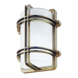 """LBL Lighting - Clipper/G Outdoor Wall, Ceiling, or Post Mounted Lantern with Optional Post - Make a powerful statement with the nautical style of the Clipper Collection. These lights make sure all your ships return home, whether from across the sea or over the pool. The Clipper Collection comes with an internally ice etched glass diffuser and a variety of finishes. Sconce Features: -Clipper/G Outdoor Wall or Ceiling Lantern -Available in brass or chrome finish -Ice etched glass diffuser -Incandescent and fluorescent versions available -Incandescent version accommodates one E26 75W (not included) -Can be mounted on a pole, wall, or ceiling -Flourescent version accommodates one G24q-1 13W quad, Gx23-2 13W quad or one G24q-3 26W quad (includes selected bulb) -Overall dimensions: 10.3"""" H x 8.5"""" W x 5.4"""" D Post Features: -Constructed from specially treated preserved pine wood -Aluminum base plate in black finish -Polycarbonate connection box with 4 ends terminal block, 16mm, and brass and stainless steel screws -Accomodates one or two luminaires -Avoid direct contact between wood and soil, as moisture may favor harmful action of frost and other biological agents -Base dimension: 5.5"""" length -Overall dimensions: 39.75"""" H x 7.1"""" W x 2.375"""" D NOTE: Track Lighting is not universal. LBL Lighting products can only be used with LBL Lighting products or warranty is void."""