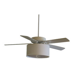 "ST Lighting, LLC - Linen Drum Shade Kit for Ceiling Fans, Parchment, 17""x17""x8"" - Our Linen Drum Shade Kits for Ceiling fans easily convert your ordinary ceiling fan into a custom look.  The high quality linen shade is available in five colors and two styles with a white acrylic diffuser,  3 light Bakelite socket (bulbs not included) with pull chain switch and final. Our kits work with your remote controlled fans also."
