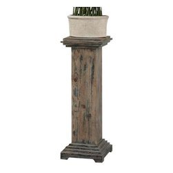 Uttermost Alejo Aged Wood Pedestal - With hints of prussian blue paint on smooth, faded gray, weathered fir, this solid wooden pedestal makes a sturdy and attractive place for a statement piece. With hints of prussian blue paint on smooth, faded gray, weathered fir, this solid wooden pedestal makes a sturdy and attractive place for a statement piece.