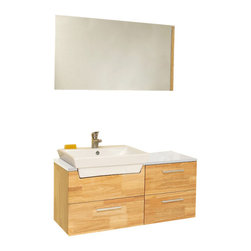 Fresca - Fresca FVN6163NW Caro Natural Wood Bathroom Vanity With Mirrored Side Cabinet - Fresca FVN6163NW Caro Natural Wood Modern Bathroom Vanity With Mirrored Side Cabinet