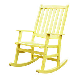 Home Styles - Home Styles Bali Hai Outdoor Rocking Chair in Lemonade Finish - Home Styles - Rocking Chairs - 5660583 - Create an island oasis on your porch or patio with a Home Styles Bali Hai Outdoor Rocking Chair. Showcasing an island inspired design in a versatile washed lemonade weathered rubbed finish and construction of eco-friendly plantation grown Shorea wood which is known for its exceptional durability and natural resistance to water this rocking chair is designed to provide endless hours of outdoor entertainment use. Curved back and contoured seat provides excellent support and imparts a slightly modern touch to the overall traditional slat design. This chair is built with stainless steel hardware.