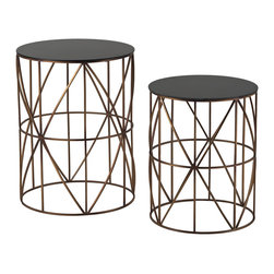 Sterling - Sterling 137-023/S2 Bradfieldset Of 2 Drum Side Tables - Sterling 137-023/S2 Bradfieldset Of 2 Drum Side Tables