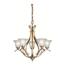 BUILDER - BUILDER Dover Transitional Chandelier X-BA0202 - Delicate arms provide sunny frills and romantic allure in this contemporary transitional chandelier. The etched seedy glass is rich and it provides a bright shine for your apartment, dining room, or bathroom. The antique brass finish is made to last and is sure to gain admirers and get people talking. Enjoy the captivating glow.