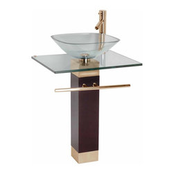 Renovators Supply - Glass Sinks Clear Glass Sink Bohemia Pedestal Sink - Glass Pedestal Sinks: Bohemia tempered glass vessel with solid red oak pedestal comes complete with gold color PVD stainless steel towel bar, diffuser faucet, drain, and p-trap.