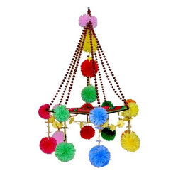 Pajak - Mobile of Paper, Straw and Yarn - This Polish chandelier is festooned in a mix of pom-poms. Set against a neutral, mod background, this chandelier would be a quirky, colorful addition to hang from the ceiling.