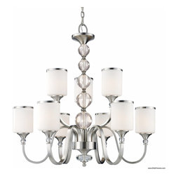 Z-Lite - Z-Lite 308-9-BN Chandelier - Brushed Nickel - The contemporary Cosmopolitan family adds a touch of quiet sophistication to your decor.