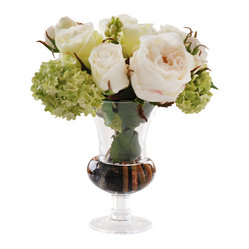 Roses in Glass, White/Green
