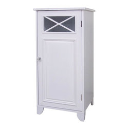 Elegant Home Fashions - Dawson Floor Cabinet w Single Door in White - Charming blend of contemporary and old world-style. Creates the perfect look for your bath furniture. Designed with simple lines and crisscross accents. Has 2 shelves - 1 shelf is fixed and the other is adjustable. White finish. Made of MDF. 15 in. W x 13 in. L x 32 in. H