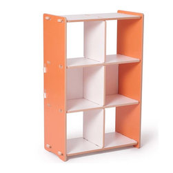Sprout Kids - Modern Orange and White 6 Cubby Shelf - Modern Orange and White 6 Cubby Shelf