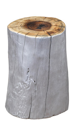 Artemano - Tree Trunk Style Suar Stool In Silver - Beautiful enough for indoor use and rugged enough for the outdoors, this sturdy accent piece offers plenty of versatility while adding an organic charm in any space. A cross between a side table and additional seating, this sturdy suar wood stool always gets the job done in style. Each stool is finished with a coat of silver paint along its sides for a modern touch on an otherwise rustic piece.