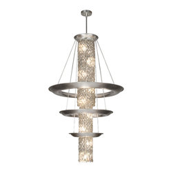 Fine Art Lamps - Celestial Pendant, 813340ST - Transform your favorite setting with celestial spectacle. Here, transparent hand-cut crystals, silver coated for reflective effect and lit from inside and out, pour through a trio of shining metal rings.