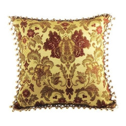 "Canaan - Etheria Damask Floral Pattern Print 18"" x 18"" Throw Pillow - Etheria damask floral pattern print 18"" x 18"" throw pillow with berry tassel trim. Measures 18"" x 18"" made with a blown in foam. These are custom made in the U.S.A and take 4-6 weeks lead time for production."