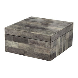 Lazy Susan - Lazy Susan 903008 Gray and White Bone Boxes - Large - How would you translate the beauty of a stone castle into modern decor? This fabulous gray and white box does just that. Layered with bricks of horn and bone, the square box highlights the natural beauty of its materials in a streamlined, contemporary way. Contrasting stripes embellish this simple yet profoundly beautiful piece.
