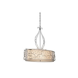 Jardine Oval Chandelier - Experience the alluring impression of soft, subtle candlelight with this Chrome finished 4 light chandelier/ oval pendant from the Jardine collection. Its sculptural, delicate flourishes, Sheer Metallic Hard Back shades and Satin Etched Cased Opal Glass will create fascinating shapes and a beautiful glow.