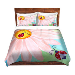 DiaNoche Designs - Duvet Cover Microfiber King from DiaNoche Designs by nJoyArt - Lovebugs - DiaNoche Designs works with artists from around the world to bring unique, artistic products to decorate all aspects of your home.  Super lightweight and extremely soft Premium Microfiber Duvet Cover (only) in sizes Twin, Queen, King.  Shams NOT included.  This duvet is designed to wash upon arrival for maximum softness.   Each duvet starts by looming the fabric and cutting to the size ordered.  The Image is printed and your Duvet Cover is meticulously sewn together with ties in each corner and a hidden zip closure.  All in the USA!!  Poly microfiber top and underside.  Dye Sublimation printing permanently adheres the ink to the material for long life and durability.  Machine Washable cold with light detergent and dry on low.  Product may vary slightly from image.  Shams not included.