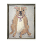 Kathy Kuo Home - Bulldog Reclaimed Wood Art Print Wall Art - Sitting calmly on a gray background, this good dog was lovingly created by a Georgia artist, then printed in a high quality finish. It's surrounded by a handmade reclaimed wood frame, and arrives ready to hang anywhere you need a little whimsical treat.