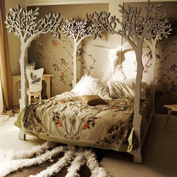 Under the Apple Tree Canopy Bed by LummeDesigns - K-I-S-S-I-N-G under the tree just took on a whole new meaning. I love it.