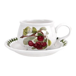 Portmeirion - Portmeirion Pomona Classics Romantic Breakfast Cup and Saucer - Set of 6 Multico - Shop for Drinkware from Hayneedle.com! About PortmeirionStrikingly beautiful eminently practical refreshingly affordable. These are the enduring values bequeathed to Portmeirion by its legendary co-founder and designer Susan Williams-Ellis. Her father architect Sir Clough Williams-Ellis was the designer of Portmeirion the North Wales village whose fanciful architecture has drawn tourists and artists from around the world (including the creators of the classic 1960s TV show The Prisoner). Inspired by her fine arts training and creation of ceramic gifts for the village's gift shop Susan Williams-Ellis (along with her husband Euan Cooper-Willis) founded Portmeirion Pottery in 1960. After 50+ years of innovation the Portmeirion Group is not only an icon of British design but also a testament to the extraordinarily creative life of Susan Williams-Ellis.The style of Portmeirion dinnerware and serveware is marked by a passion for both pottery manufacturing and trend-setting design. Beautiful tactile nature-inspired patterns are a defining quality of Portmeirion housewares from its world-renowned botanical designs modeled on antiquarian books to the breezy natural colors of its porcelain and earthenware. Today the Portmeirion Group's design legacy continues to evolve through iconic brands such as Spode the Pomona Classics collection and the award-winning collaboration of Sophie Conran for Portmeirion. Pomona for Portmeirion:Classical in both its inspiration and its style the Pomona Collection from Portmeirion Group is a garden of earthly delights. Named for the ancient Roman goddess of fruit and abundance its lifelike patterns and fruit motifs are inspired by a collection of early 19th-century books of hand-colored botanical drawings. The Pomona Collection was introduced in 1982 by legendary designer and Portmeirion co-founder Susan Williams-Ellis whose iconic garden- and botanical-themed designs are still among the world's most popular casual tableware motifs.The Pomona Collection's intricately detailed botanical drawings feature green leaf borders and multi-color fruit displays on a background of high-fired white earthenware. Each distinctive motif bears an elegant cursive title to indicate its botanical origins. These include The Hoary Morning Apple The Teinton Squash Pear The Wild Blackberry The Roman Apricot Grimwoods Royal George (Peach) and The Late Duke Cherry. Together the multiple motifs and dishes of the Pomona Collection of serveware dinnerware and drinkware create bountiful opportunities for mixing and matching sets. Made of dense earthenware these pieces are dishwasher- microwave- freezer- and oven-safe (to 350 F). Give nature its fullest expression in every season and setting with the Pomona Collection from Portmeirion.