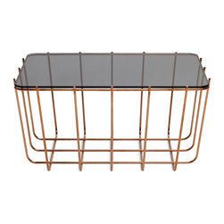 Blu Dot - Blu Dot Scamp Small Table, Copper Base - Glass Top - Three sizes, three base finishes and two tops to choose from to scatter or cluster. Mix and match our little Scamp to form your own landscape of beauty and utility.