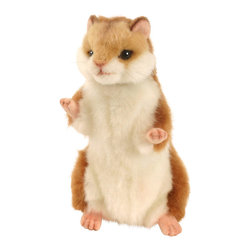 Hansa - Hansa Toys Hamster - This Hansa Hamster is made from golden brown plush with a white stomach and pink paws. Hansa Hamster has black eyes, pink mouth, and whiskers. Ages 3 and up. Airbrushed for detail.