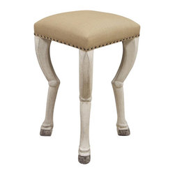 Noir - Clara Barstool - Crafted the old-fashioned way, Noir products emphasize a natural yet unique aesthetic that is sure to add a touch of old-world charm to any décor. Noir's notable collection of home furnishings has a timeless feel with a contemporary flare. All finishes are hand applied using high quality lumbers from well-known suppliers giving them a one-of-a-kind appeal. Creatively carved claw feet in white weathered mahogany support the linen upholstered seat with a contemporary feel. Nailhead trim gives a rustic look to compliment the organic undertones. Modern yet antique, this stool can fit into a variety of home decors. Features: -White weathered finish. -Solid mahogany wood construction. -Linen cotton fabric. -Nailhead trim. -Distressed finish.
