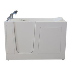 Creative Bathrooms - E-Series Dual Massage 60 in. x 30 in. Walk In Tub in White with Left Drain - The E-Series 60 in. x 30 in. (E6030) Dual Massage  Walk In Tub is the most affordable walk in tub featuring an easy-to-clean high gloss triple gel coat tub shell for excellent color uniformity. Stainless steel frame with adjustable feet and has a 6.5 in. threshold for easy entry. ADA Compliant with components of 17 in. seat height, textured floor and a built-in grab bar. The E6030D dual massage tub comes standard with eighteen (18) therapeutic air massage jets; six (6) adjustable direction hydrotherapy jets, both with pneumatic on/off push controls; and features an in-line water heater (1.5W). Includes a five (5) piece roman faucet in chrome with hand held shower unit.  The Ella E6030 has soaking, air massage or dual massage options and right or left drain location. Size: 37 in. width x 60 in. length x 30 in. height. Limited Three (3) Year warranty on tub components. For more product information, please call 1.800.480.6850.