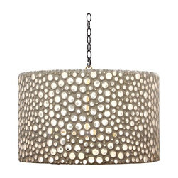 Oly Studio Meri Drum Shade - This unique drum shade is often imitated, never matched. It's a great way to add glamor or some sneaky more sophisticated coastal style to a room. It also does a beautiful job of reflecting light.